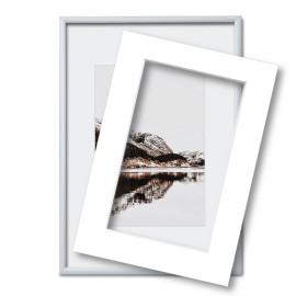 Fotolijst met passe partout 30x40cm zilver